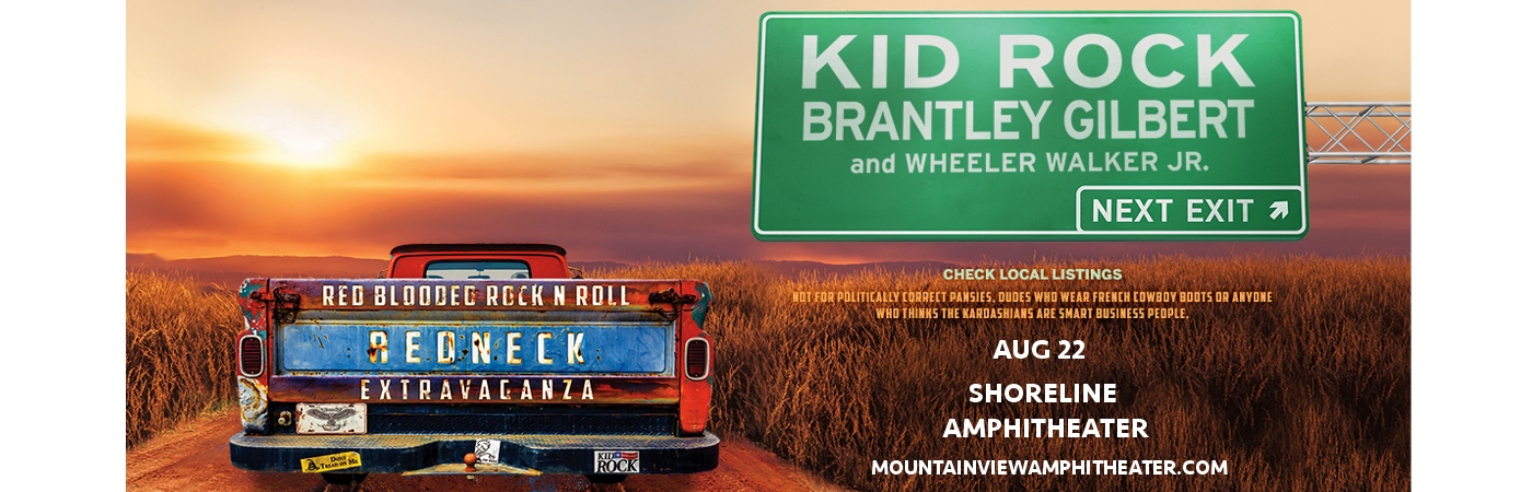 Kid Rock, Brantley Gilbert & Wheeler Walker Jr. at Shoreline Amphitheatre