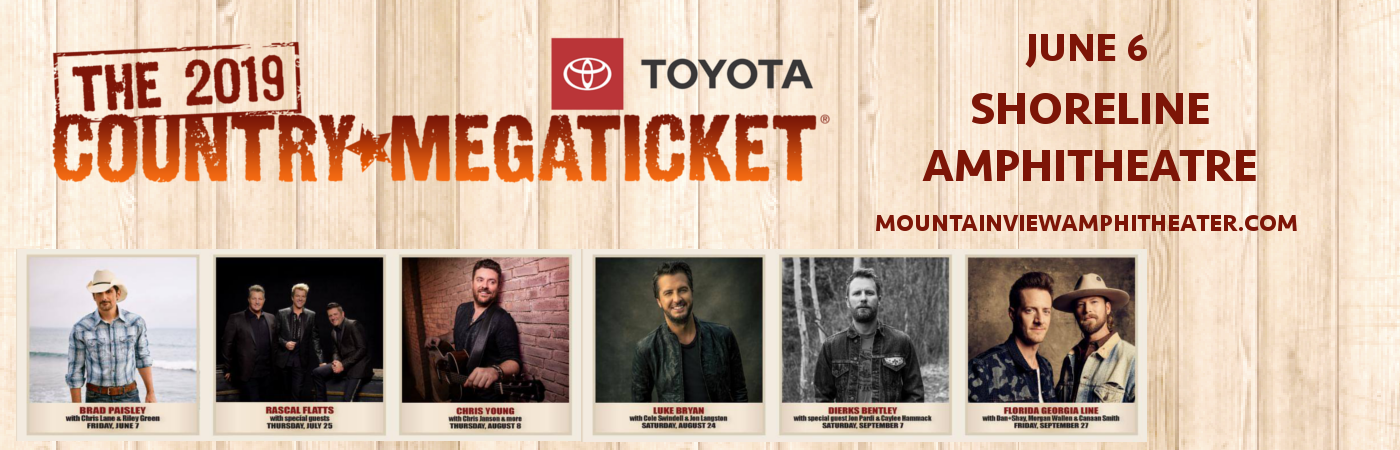 2019 Country Megaticket Tickets (Includes All Performances) at Shoreline Amphitheatre
